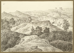 View from the summit of the Tutki Pass (Bihar) looking east. 12 February 1823